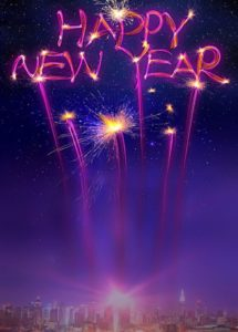 Happy New Year Neon Effect Background